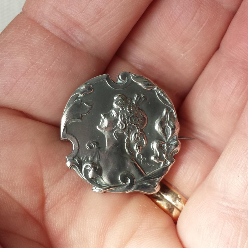 Art Nouveau Lady c18901910 Silver Brooch Signed  Cainac French Hallmarked .