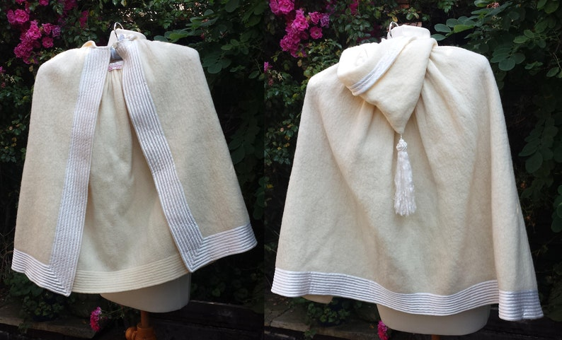 Doll Clothing Vintage Clothing  . 1940/'s Ivory Cream Wool Childs Warm Cape Doll Cape