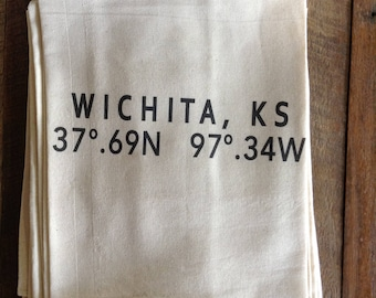 ICT/Wichita Coordinates Tea Towel