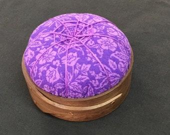 Black Walnut purplelavender floral design Handcrafted Shaker Tomato Pincushion Handstitched Spiderwork