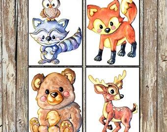 Animal Nursery Decor   Baby Animal Prints   Woodland Nursery Prints   Bear, Racoon/Owl, Deer, and Fox   Set of 4