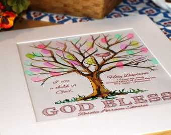 Handpainted Thumbprint First Holy Communion/Christening/Baptism/Dedication/Confirmation Tree Print