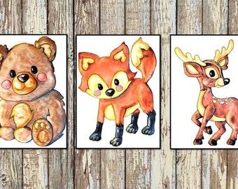 Animal Nursery Decor   Baby Animal Prints   Woodland Nursery Prints   Bear, Racoon/Owl, Deer, and Fox   Set of 3