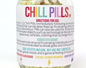 photo regarding Printable Chill Pill Label called Chill tablet label Etsy