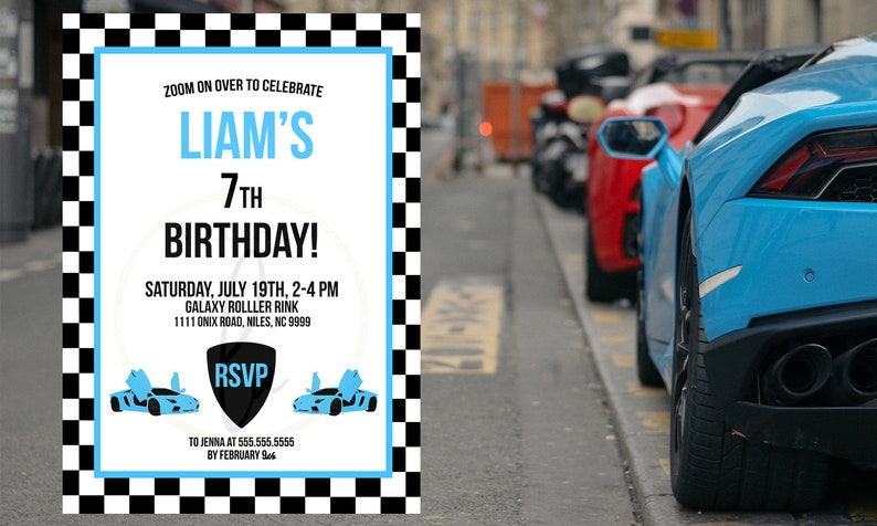 Supercar Party Invite Blue Supercar Party Invitation Editable PDF Invitation EDITABLE PDF Blue Supercar Birthday Party Invitation