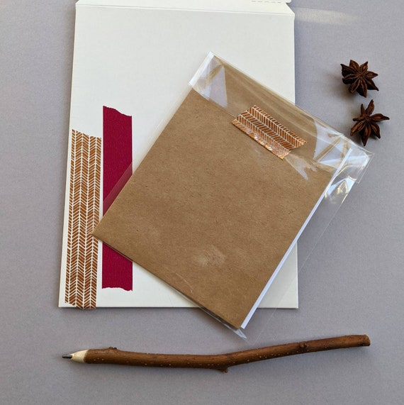 Christmas Minimalist Fika Handmade Holly Wreath Card Envelope Set Holiday Letter Writing Original Paper Made in France Christmas joy