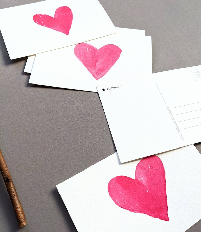 Handpainted Red Pink Watercolors Original Cozy Mail letter writing love Fika everyday hugs Custom Message Hearts Modern Postcards