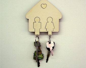 Wall Mounted Wooden Key Holder Man & Women, His and Hers Key Holder Gift /Present/House Warming