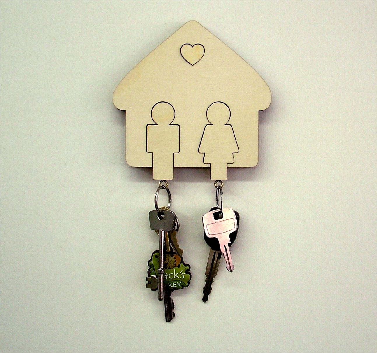 Wall Mounted Wooden Key Holder Man & Women His and Hers Key