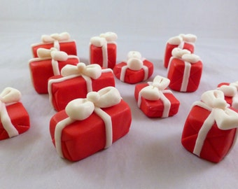 12 count gumpaste Christmas presents - sugar presents for cake decorating - Christmas cake - Christmas cupcake toppers - fondant gifts