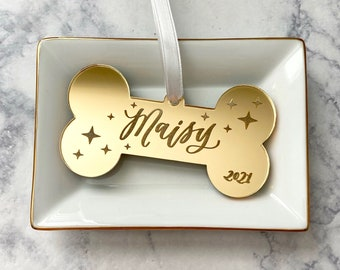Custom Dog Ornament - Engraved Dog Bone Ornament Personalized - Gift for New Dog Owner - Dog Bone Ornament Acrylic - Dog Mom Gift