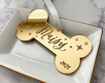Personalized Dog Ornament - Engraved Dog Bone Ornament - Puppy Ornament - Gift for New Dog Owner - Dog Bone Ornament Acrylic - Dog Mom Gift