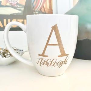 Gold Initial Floral Mug * BIRTHDAY BRIDESMAID Thank You Gift Wedding Gift Bridal