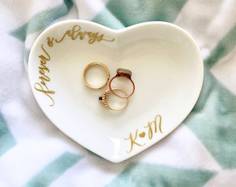 Wedding Ring Dish Personalized - Ring Dish Engagement - Couples Jewelry Dish - Bridal Shower Gift for Bride