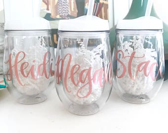 Rose Gold Tumbler Personalized | Monogrammed Tumbler with Straw | Acrylic Wine Tumbler | Beach Tumbler | Custom Wine Tumbler |Wine Sippy Cup