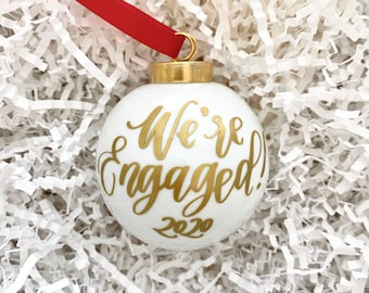 """Engagement Gift   2.5"""" Personalized Engagement Ornament   We're Engaged Ornament   Engagement Christmas Ornament   Glass Christmas Ornament"""