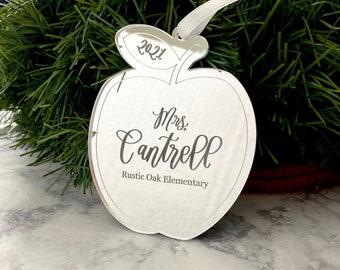Teacher Christmas Ornament - Personalized Teacher Gift - Gift from Student - Thank You Teacher Gift - Apple Ornament