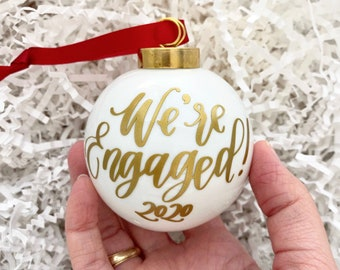 """Engagement Ornament   2.5"""" Champagne Christmas Ornament   Just Engaged Gift- Wedding Ornament- Engaged Ornament"""