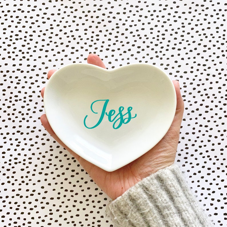 Jewelry Dish for Bridesmaids Heart Ring Dish Best Friend Gift Personalized Bridesmaid Gift Idea Ceramic Ring Dish Heart Shaped