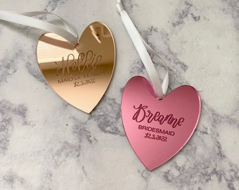 Personalized Bridesmaid Ornament - Heart Shaped Acrylic Ornament - Bridesmaid Proposal Gift - Asking Bridesmaid Gift