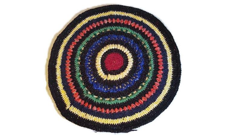 doily rug pad rustic home bohemian meditation eclectic accent rug mandala yoga mat Black rainbow rug small round doily crochet floor mat