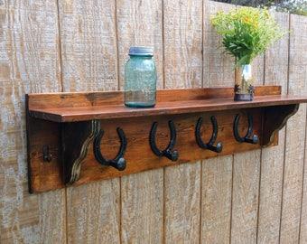 Coat Hanger, Reclaimed Wood Shelf, Barn Wood Shelf, Rustic Decor, Upcycled  Horse Shoes, Horse Shoe Decor, Wooden Shelf, Rustic Wooden Shelf