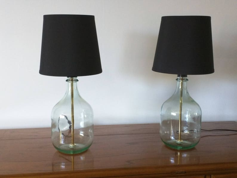 more photos 42f86 2a30c Table lamp, small table lamp, bedside lamp, set of 2 table lamps, glass  bottle lamp, bedroom lamp, modern decor, bottle lamp, glass lamp