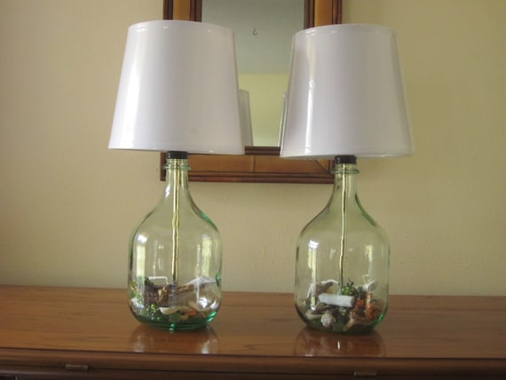 Set of 2 table lamps, bedside lamps, bedroom lamps, nautical decor, glass  table lamps, modern decor, small table lamps, glass bottle lamps