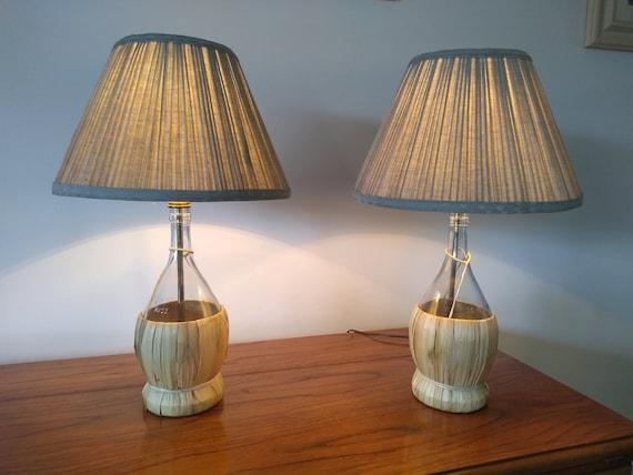 Lamp, table lamp, small table lamp, bedside lamp, bedroom lamp, glass  bottle lamp, vintage decor, upcycled bottle, beachside decor