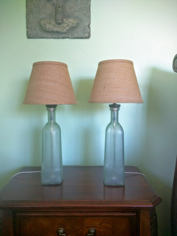 Table lamps, set of 2 bedside lamps, bedroom lamps, glass bottle lamps,  painted glass, burlap lamp shades, glass lamps, upcycled glass