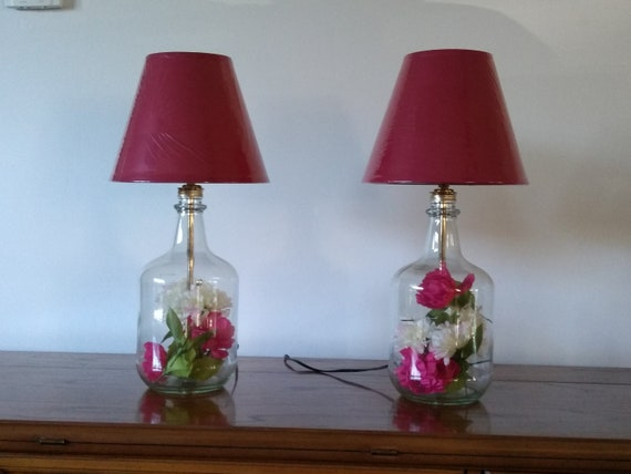 Lamp, small table lamp, table lamp, bedroom lamp, bedside lamp, set of two table lamps, glass bottle lamp, upcycled glass bottle, glass lamp