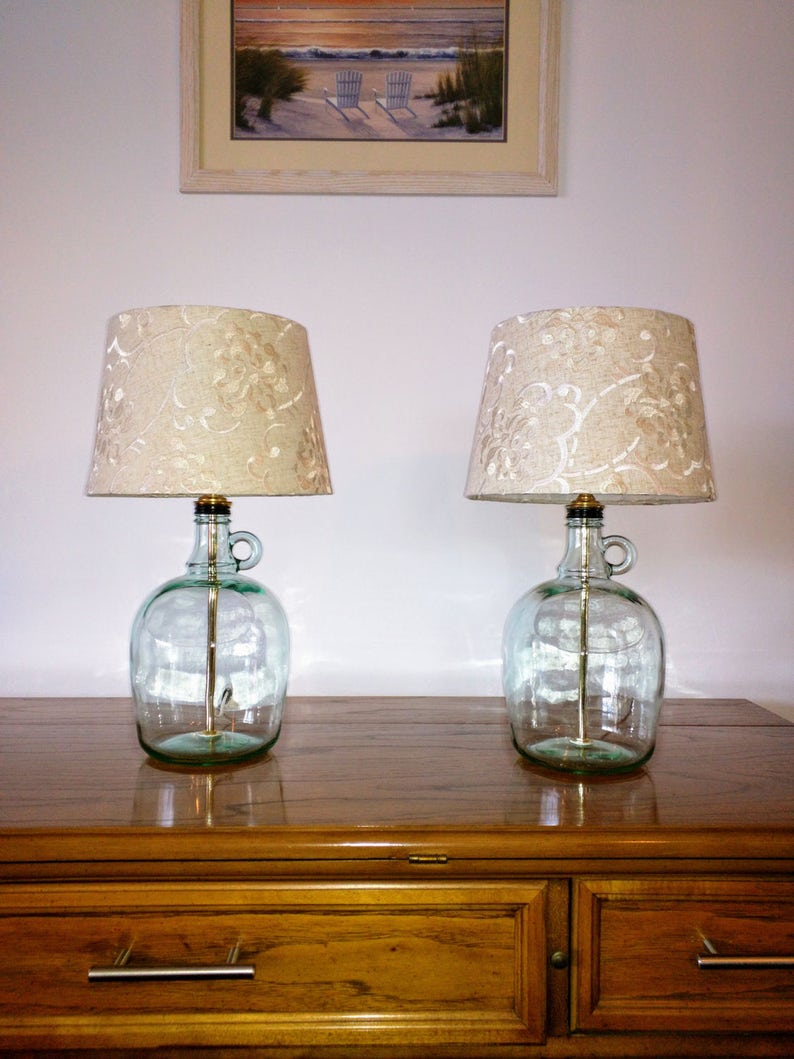 Table lamp, bedside lamps, small table lamp, set of 2 table lamps, glass  table lamp, bedroom lamp, modern decor, glass bottle lamp