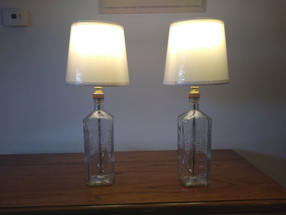 Table lamp, small table lamp, bedside lamp, bedroom lamp, set of two lamps,  glass bottle lamp, modern decor, clear glass lamp, accent lamp