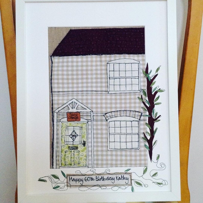 Embroidered home sketch framed bespoke fabric art,