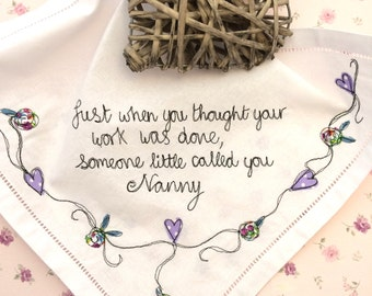 Nannys keepsake embroidered handkerchief