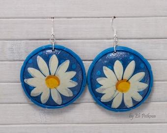 Handmade earrings. large earrings. Recycled jewellery. Sterling silver hooks. Decoupage.Daisy earrings.