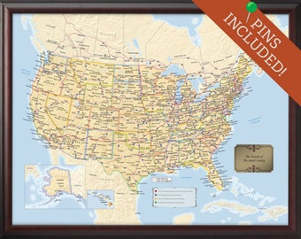 Us travel map | Etsy