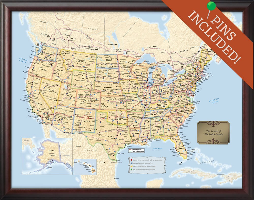 personalized framed us travel map with pins 34x26 push pin