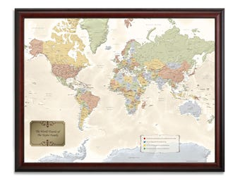 personalized framed world travel map with pins push pin travel map world pin map