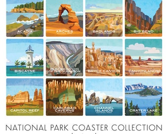 Build Your Own Coaster Set of 4 - More Added Feb 2018! - National Parks Coasters - Great Gift