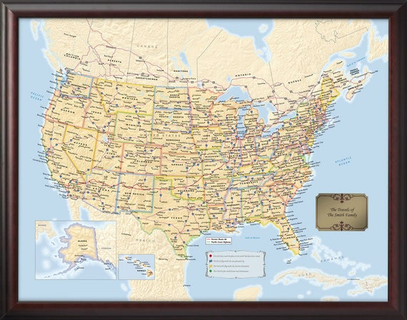 Personalized Framed US Travel Map with Pins - 34x26 - Push Pin Travel Map -  Personalized Gift - Great Travel Gift - Home Decor -