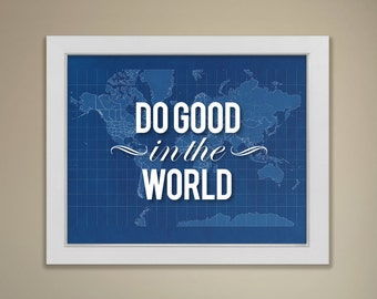 Blueprint world map etsy blueprint map do good in the world malvernweather Images