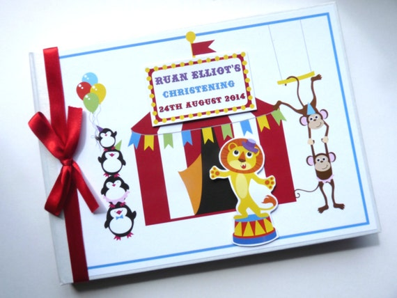 PERSONALISED CIRCUS CHRISTENING  BIRTHDAY MESSAGE GUEST BOOK /& PRESENTATION BOX