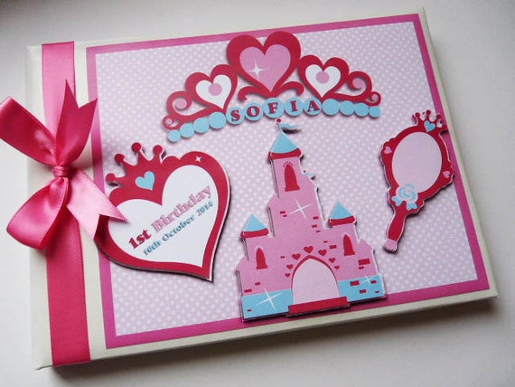 princess tiaras girls first birthday guest book personalised etsy