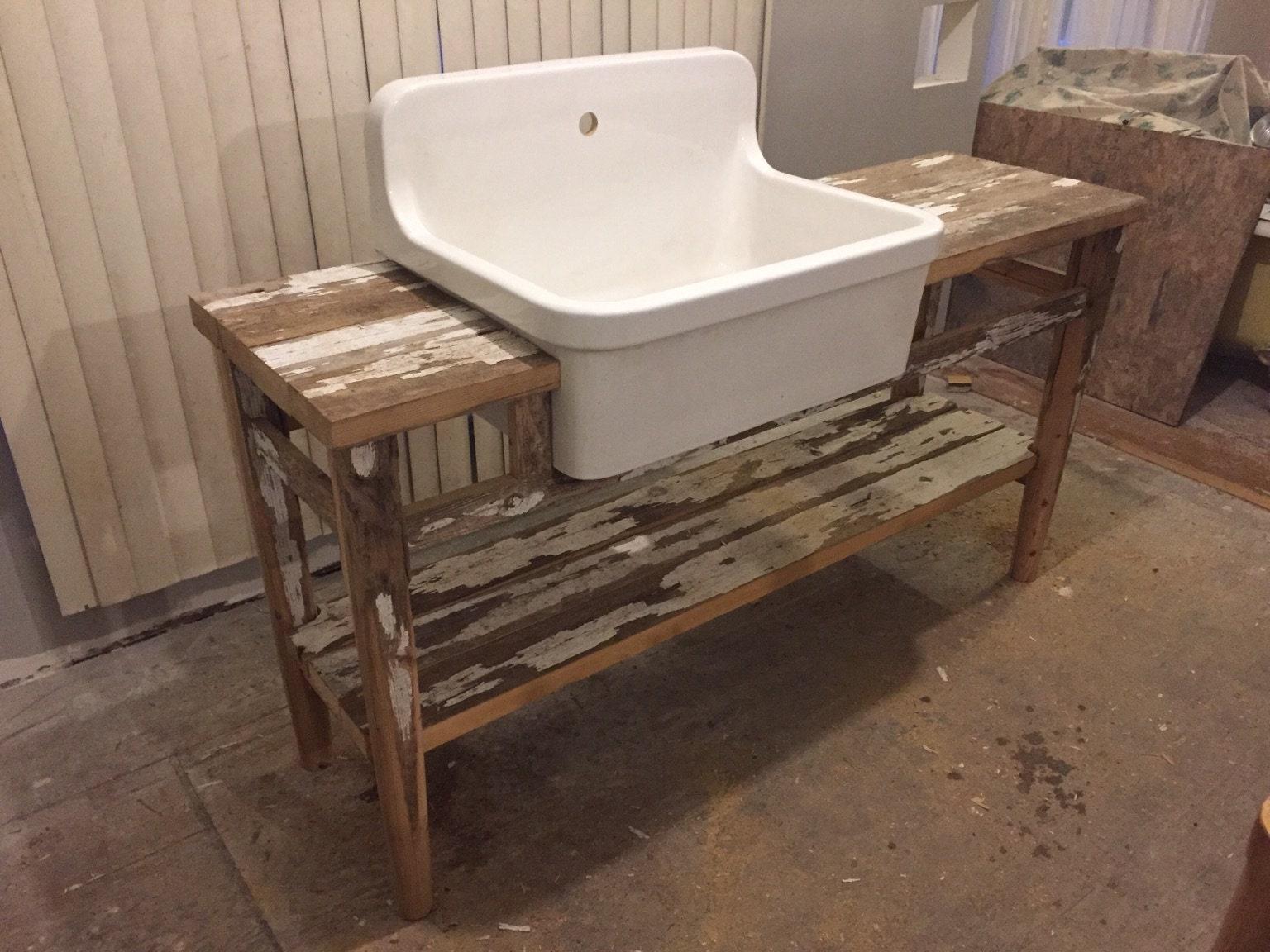 Wonderful Vintage Highback Farmhouse Sink In Custom Wood Stand With Shelf From Antique Farm Fence