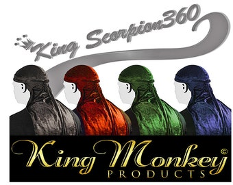 Custom Fat Lace Velvet Du-rag/Turban/Hair-Wrap King Scorpion 360 Velvet Du-Rags By King Monkey Products