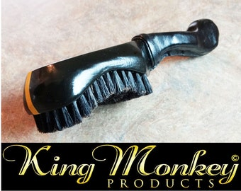 Solid Black Custom Handmade Leather Grip 360 Wave Brush New 9 Row Tight - Medium Hard King Scorpion 360 Wave Brush By King Monkey Products