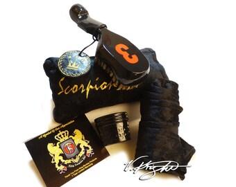 King Scorpion 360 Medium Hard Wave Brush | Goose Down Velvet Carrying Pouch | Reversible Velvet/Satin Du-Rag | Scorpion 360 Wave Butter