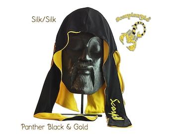 Reversible Multi-Color Silk Fat-Lace Du-Rag - Panther Black & Gold