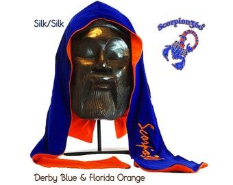 Reversible Multi-Color Silk Fat-Lace Du-Rag - Derby Blue & Florida Orange